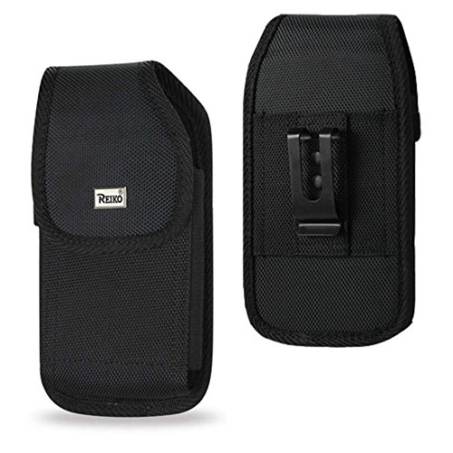 Reiko Black Rugged Nylon Metal Clip Pouch Holster For iPhone 8 / 7 / 6 / 6S Plus ( Fits with Hybrid Case On)