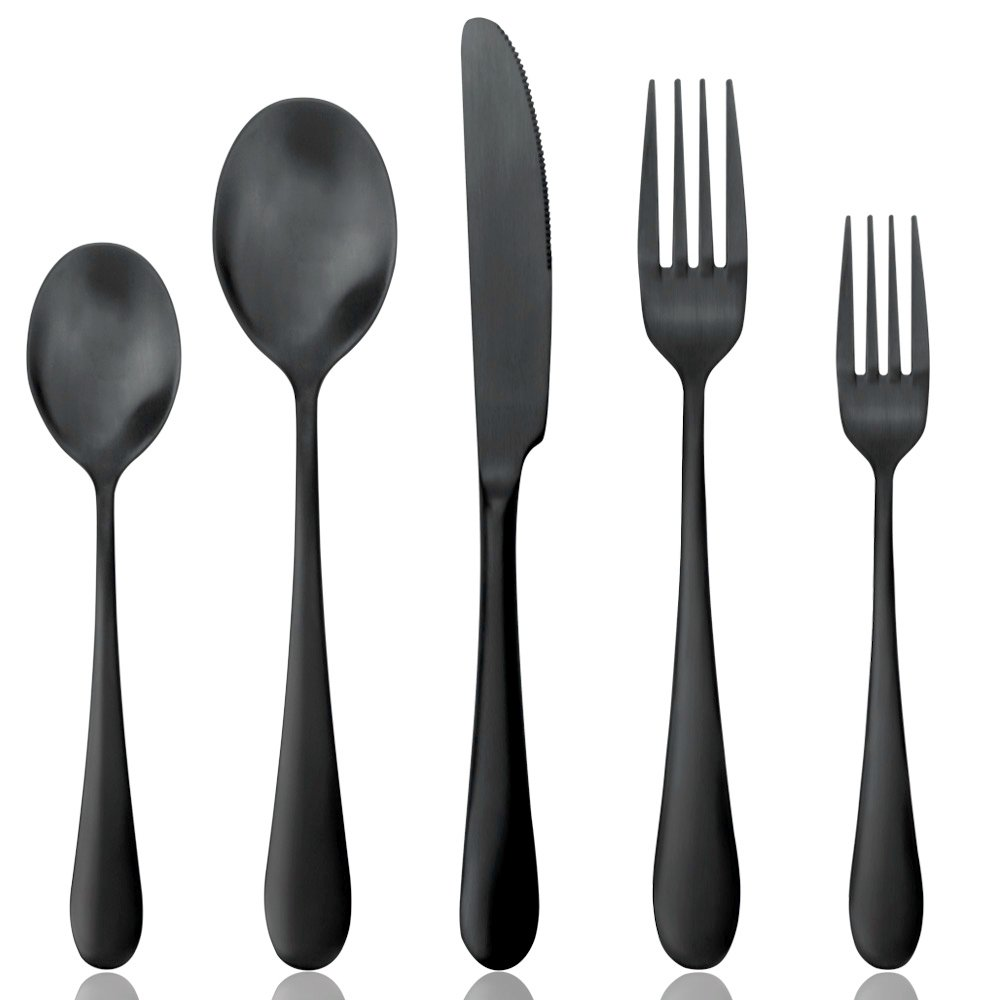 Cutlery Set AOOSY Matt Black Flatware Set,5 Pieces Stainless Steel Knife Spoon Fork Dinnerware/Tableware Set for 1 Person(Black Matt,1 set)