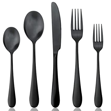 Black Flatware Set 20 Pieces Set Matte Black Plated 18/10 Stainless Steel Cutlery  sc 1 st  Amazon.com & Amazon.com | Black Flatware Set 20 Pieces Set Matte Black Plated 18 ...
