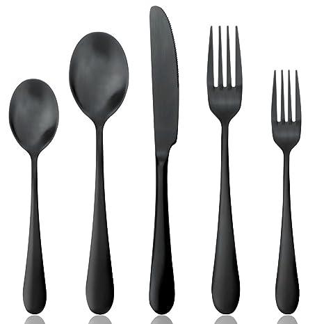 AOOSY Negro Mate de Acero Inoxidable Cubiertos Cubertería Set, cucharas Tenedores Cuchillos, Servicio para