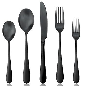 AOOSY Negro Mate de Acero Inoxidable Cubiertos Cubertería Set, cucharas Tenedores Cuchillos, Servicio para 1: Amazon.es: Hogar
