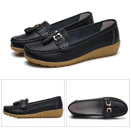 hunpta Boat Shoes, Women Casual Wedges Soft Bottom Outdoor Leisure Lightweight Peas Boat Shoes Black