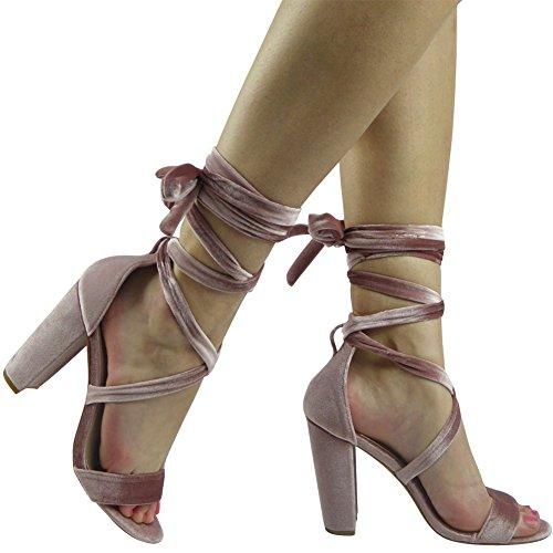 Des femmes 36 Sandales 41 Taille haut Rose Peeptoe En Nouvelles Attacher qXxwY8dd