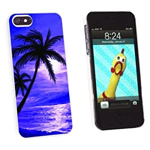 phone covers Graphics and More Palm Trees And Sunset Purple - Beach Tropical Ocean - Snap-On Hard Protective Case for Apple iPhone 5c - Non-Retail Packaging - White