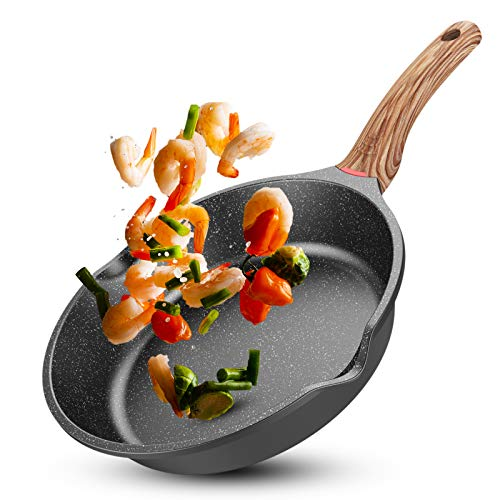 Ms.life Nonstick Induction Granite Stone Frying Pan, Skillets with Heat-Resistant Ergonomic Protection Handle, 8/9.5/10…