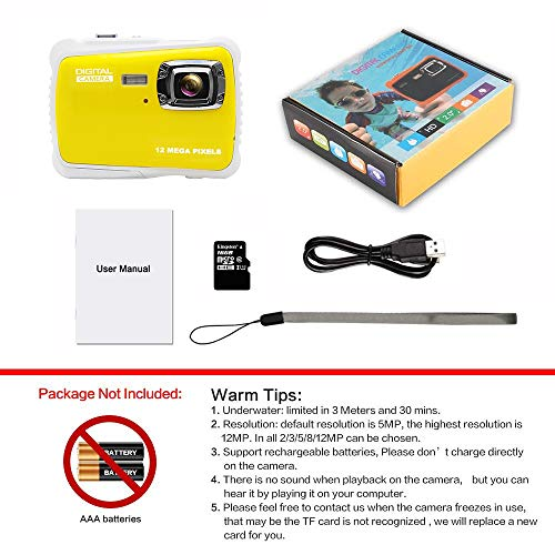 Kids Camera Underwater Digital Camera-IP68 Waterproof Toddler Camera,Video Recorder Action Preschool camera,2.0 Inch LCD Display,16G TF Card Floating Wrist Strap,8X Digital Zoom, Flash and Mic for Kid by L8star (Image #6)