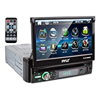 "Pyle Single DIN Head Unit Receiver – In-Dash Car Stereo with 7"" Multi-Color Touchscreen Display – Audio Video System with Bluetooth for Wireless Music Streaming & Hands-free Calling –  PLTS78DUB, BLACK"
