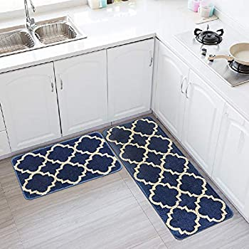Amazon Com Hebe Kitchen Rugs Set 2 Piece Machine Washable