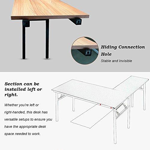 Need 55'' x 55'' L-Shaped Folding Computer Desk, One-Step Assembly, L Desk Home Office Desk Workstation Desk, Teak AC11BB by Need (Image #3)