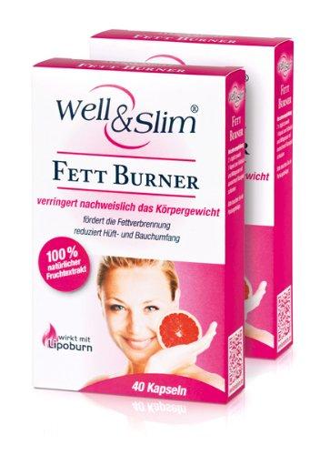 WELL & SLIM Fett Burner (2er Pack) - Fatburner zur Verringerung des Körpergewichts - (2x40 Kapseln)