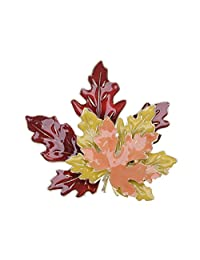 Alilang Golden Tone Metal Red Yellow Orange Enamel Maple Leaf Fashion Pin Brooch
