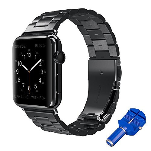 Price comparison product image SKYii Stainless Steel iWatch Band for Sports Metal Apple Watch Band 42mm 38mm Series 3 2 1 Black Color