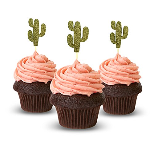 - Cactus Cupcake Topper 12 pieces per Pack Cupcake Topper Decoration Card Stock Gold