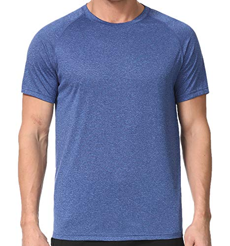 - Men's Dry Fit Athletic T-Shirts, Short Sleeve Crew Neck Workout Tees, Blue L