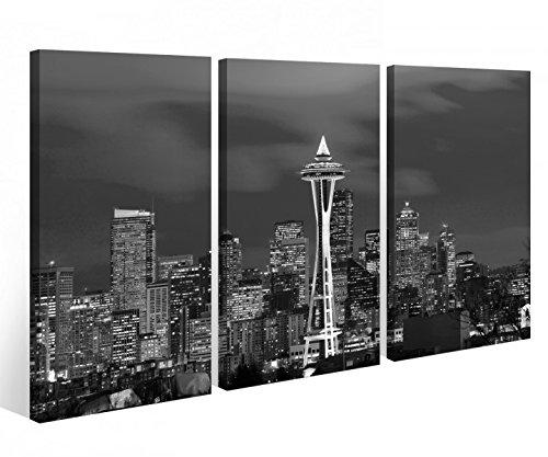 Leinwandbild 3 Tlg. Skyline Seattle USA Amerika Leinwand Bild Bilder Holz fertig gerahmt 9P1003, 3 tlg BxH 120x80cm (3Stk 40x 80cm)
