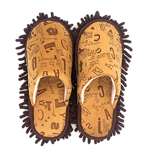 Selric [Alphabet Image] Chenille Cozy Washable Mop Slippers, Two Pairs of Mop Soles Included , Closed Toe Cleaning Shoes, Detachable Mopping Shoes Dusting Cleaning Tool 9 7/9
