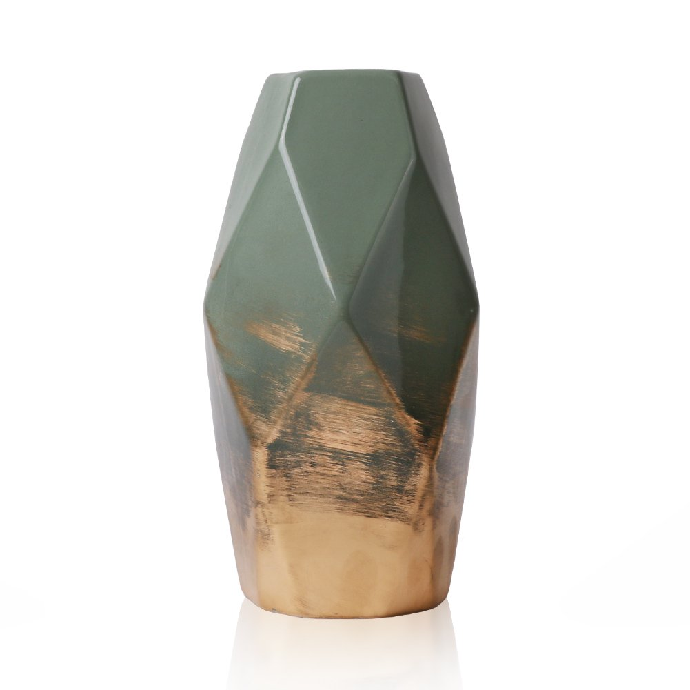 Hannah's cottage Green and Gold Ceramic Vase Modern Table Flower Vase for Home Decoration Height 20cm Hannah's cottage