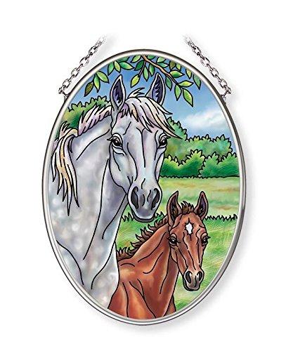 Amia Family Portrait Horse Glass Suncatcher 4-1/2