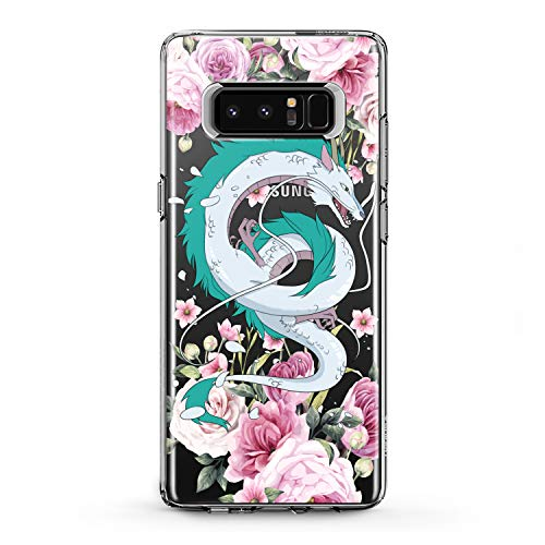 Lex Altern TPU Case for Samsung Galaxy J7 MAX Prime J6 Plus J5 J4 J3 Green Dragon Floral Haku Clear Pattern Cover Soft Silicone Pink Flowers Print Protective Transparent Girls Lady Women Top Glam -