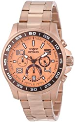 Invicta Men's 14393 Specialty Chronograph Rose Gold Dial 18K Rose Gold Ion Plated Stainless Steel Watch