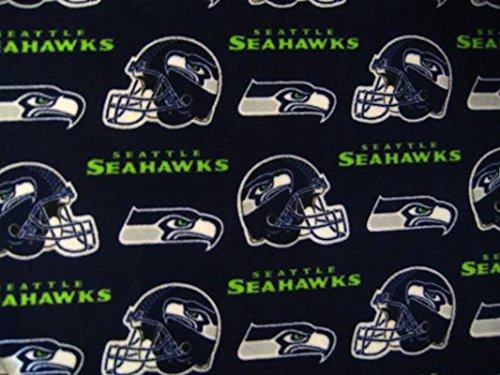 Seattle Seahawks Soft Fleece Fabric by the Yard Seahawk Logo Football Helmet Designer Print (0.9m) 58