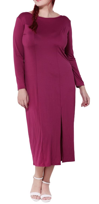 Bigood Plus Size Rückenfrei Lange Armel Damen Party Kleid ...