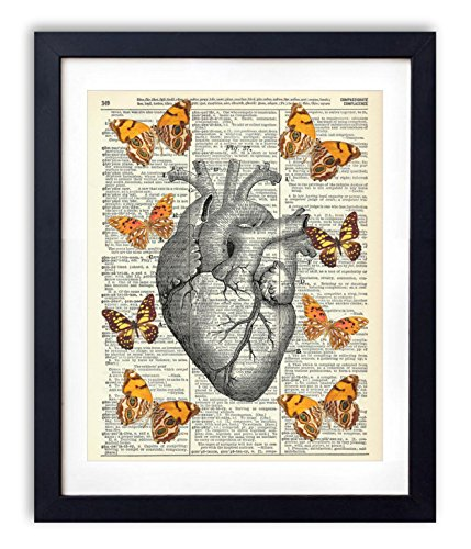 anatomical-heart-with-yellow-butterflies-upcycled-vintage-dictionary-art-print-8x10