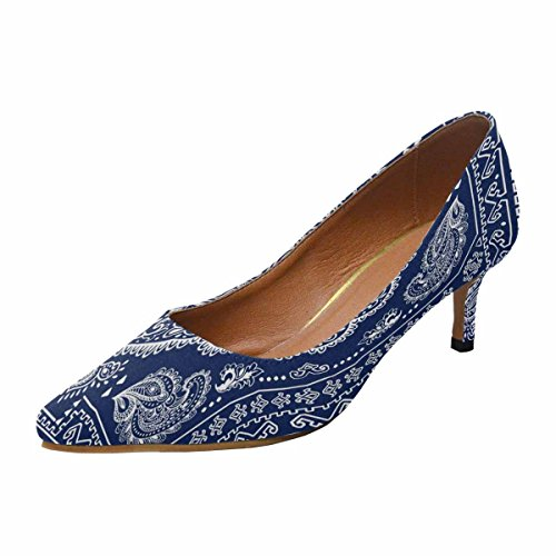 InterestPrint Womens Low Kitten Heel Pointed Toe Dress Pump Shoes Indian Floral Ornament Multi 1 qWpny