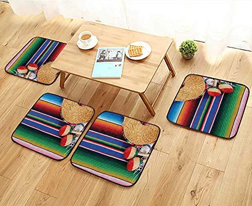 Printsonne Home Chair Set Mexican Artwork with Sombrero Straw Hat Maracas Serape BlankRug Machine-Washable W21.5 x L21.5/4PCS Set by Printsonne