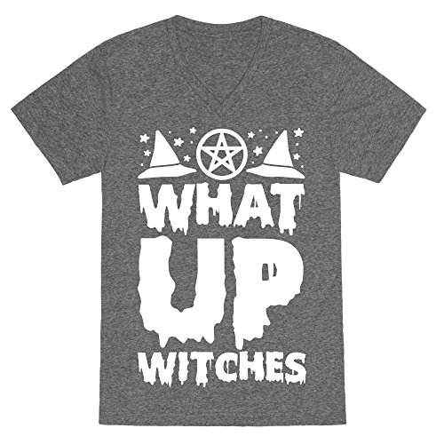What Up Witches Heathered Gray XL Mens/Unisex V-Neck Triblend Tee by (Casting Love Spells On Halloween)