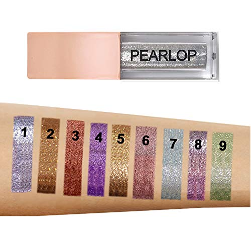 Pearlop's Glitter Liquid Eyeshadow Set, 9 Colors, Waterproof Cosmetics Eyeliner, All Day Wear, Highlighter Makeup for Eyes, Lips, Face, Body (03)