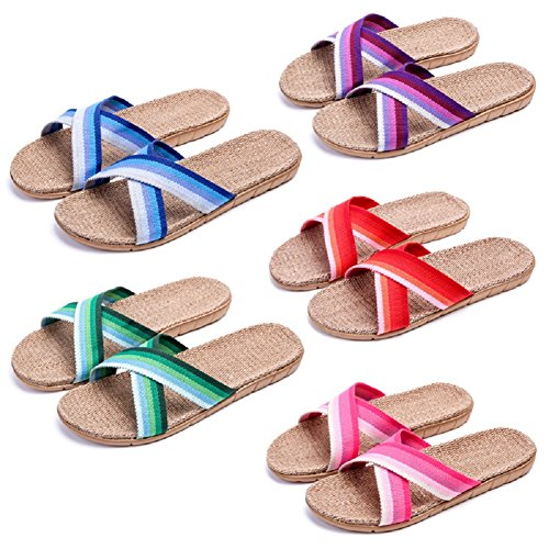 Women Indoor Slippers Sandals Unisex Slides Casual Linen Men's HRFEER Slipper Flat Home Shoes Breathable zdnqxd4