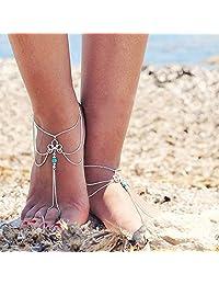 Susenstone Women Beach Barefoot Sandal Foot Tassel Jewelry Anklet Chain