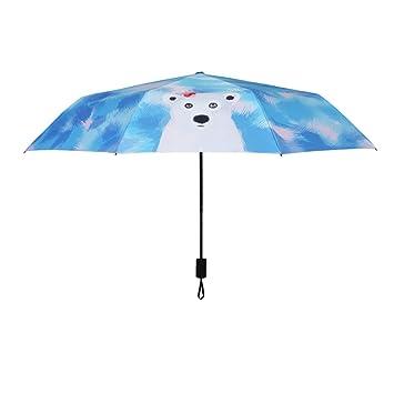 Pintado a mano oso lindo paraguas soleado protección solar paraguas UV estudiantes pequeño paraguas fresco de