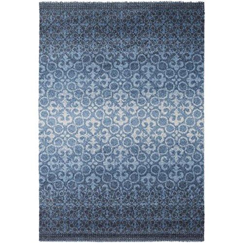Iris Throw (2' x 3.5' Iris Excursions Colbalt Blue, Navy Blue and Light Gray Area Throw Rug)