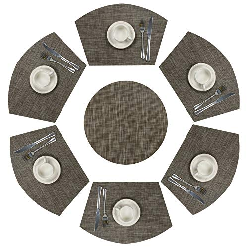 SHACOS Round Table Placemats Set of 7 Woven Vinyl Wedge Placemats with Centerpiece Heat Resistant Wedge Table Mats (7, Black Coffee) (Placemats Wedge Black)