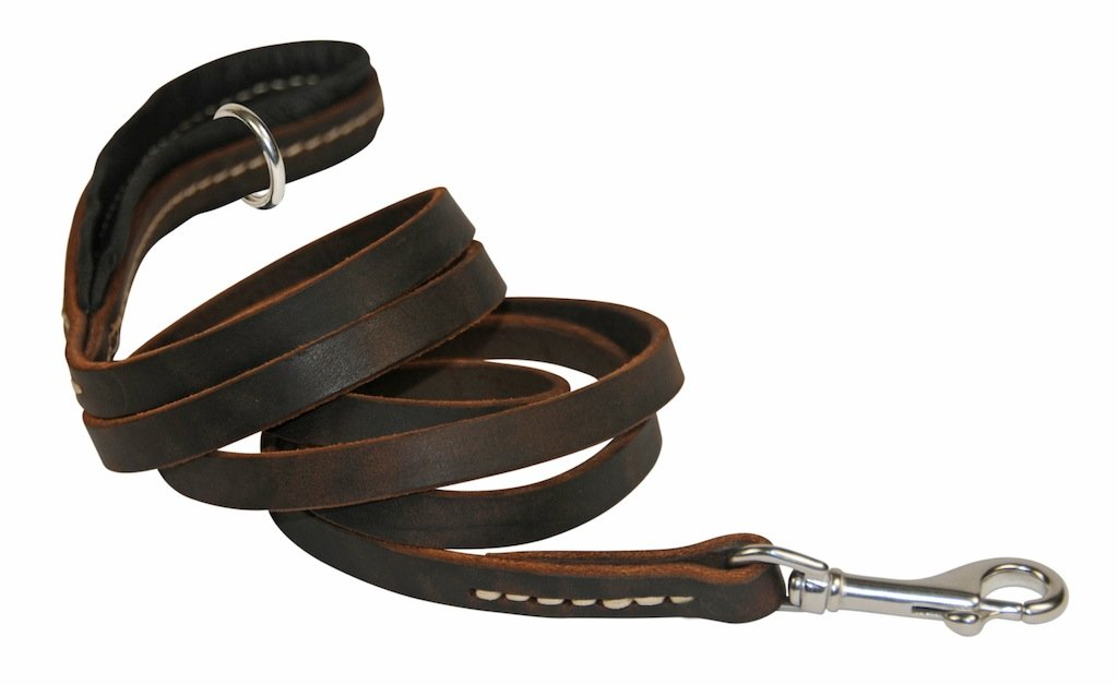 Dean & Tyler Soft Touch 1 2-Inch Black Padding Dog Leash with Brown Ring on Handle and Stainless Steel Snap Hook, 2-Feet by 1 2-Inch