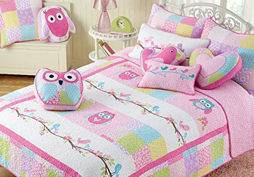 Cozy Line Home Fashions Pink Owl Blue Green White Dot 6-piece Cotton Bedspread Quilt Bedding Set, includes 1 Quilt, 1 Sham, 4 Decorative Pillows, Christmas Gifts Set for Kids Girls, Twin Size by Cozy Line Home Fashions