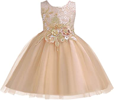 New Rhinestone Flower Girl Dress Princess Birthday Pageant Gown Ball Szie 2-14