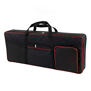 "61 Key Keyboard Gig Bag Padded Case, Portable Electric Keyboard Piano 600D Oxford Cloth with 10mm Cotton Case Gig Bag 40""x16""x6"" GJB54 (black+red)"