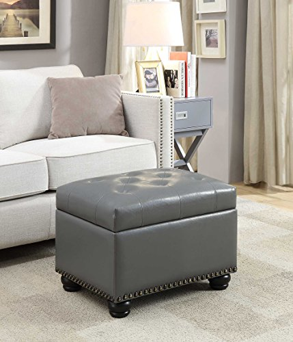 Convenience Concepts 163010GY Designs4Comfort 5th Avenue Storage Ottoman, Gray