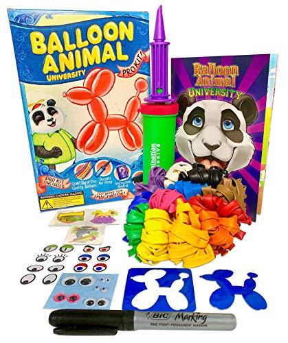 (Balloon Animal University PRO Kit 101 balloons, Book & Video Training, Qualatex Balloons, Air Pump, BIC Marker, Googly Eyes, Tattoos & More! Learn how to Make Balloon Animals Holiday Gift)
