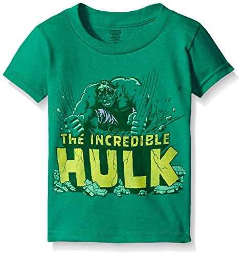 Marvel Little Boys' Toddler Incredible Hulk Smash Short Sleeve T-Shirt, Kelly, 3T (Hulk Smash Shirt)