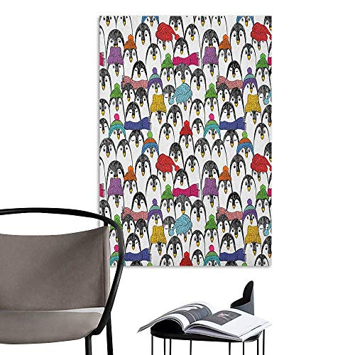 (Wall Art Canvas Prints Sea Animals Pattern with Cute Penguins in Colorful Hats and Scarfs Cold Winter Fun Art Multicolor Living Room Wall W16 x)