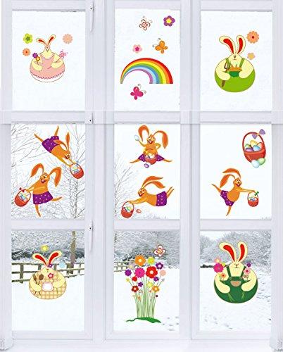 Moon Boat 69 pcs Easter Window Clings Decorations-Bunny Rabbits Egg -Party Ornaments (4 Sheets)
