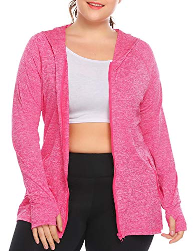 IN'VOLAND Womens Running Jackets Plus Size Lightweight Full Zip Up Track Workout Yoga Athletic Hooded Hoodie with Pockets Pink