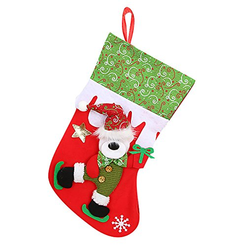 Willsa Cute Exquisite Christmas Gifts Candy Beads Christmas Santa Claus Snowman Socks Decorations ()