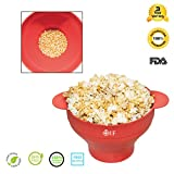 Microwave Popcorn Maker Popcorn Popper Bowl Silicone Collapsible Easy Use with Lid Handles Homemade Red
