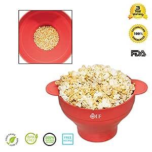 Silicona microondas palomitas de maíz eléctrica, oif plegable palomitas de maiz poppers – Bol con tapa y medición 2 minutos Pop maíz microondas cocina ...