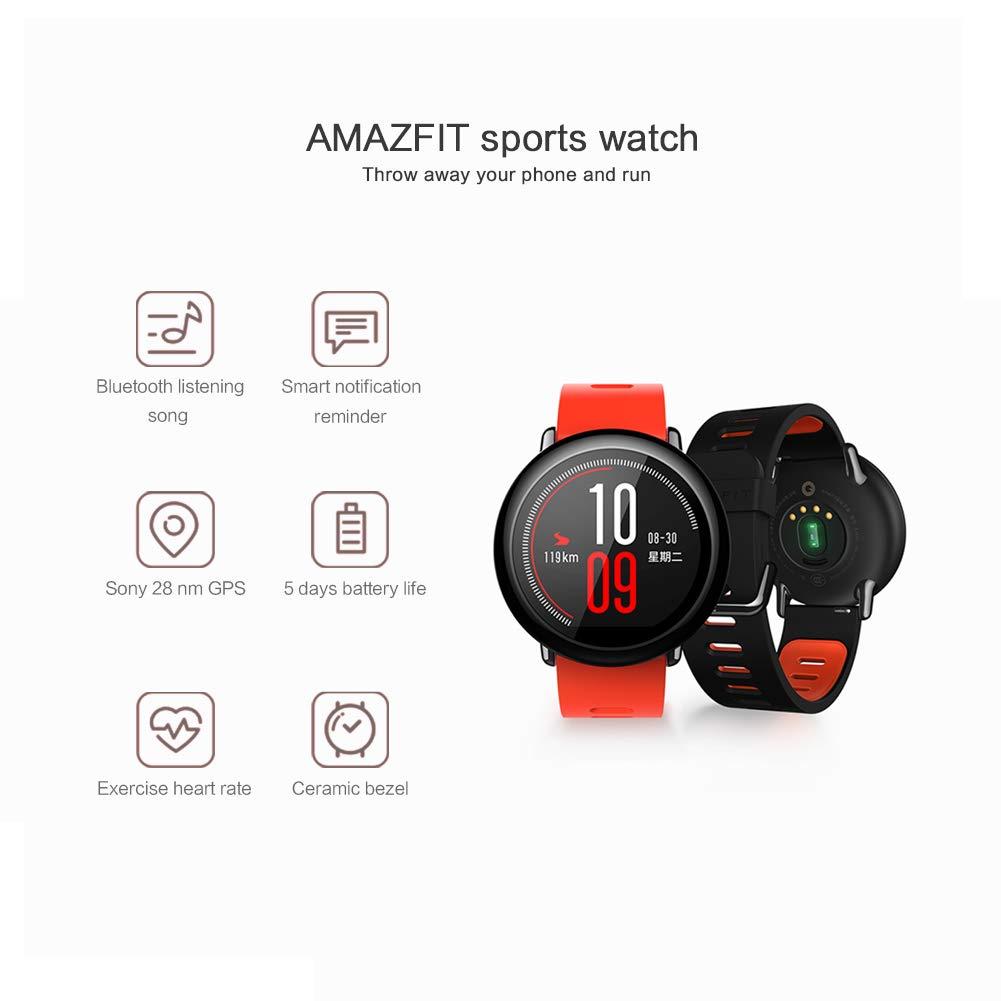 Xiaomi Amazfit Pace, Relojes Inteligentes Xiaomi Amazfit, Relojes Deportivos con GPS Bluetooth Reloj Inteligente Pantalla Táctil Monitor de Ritmo ...